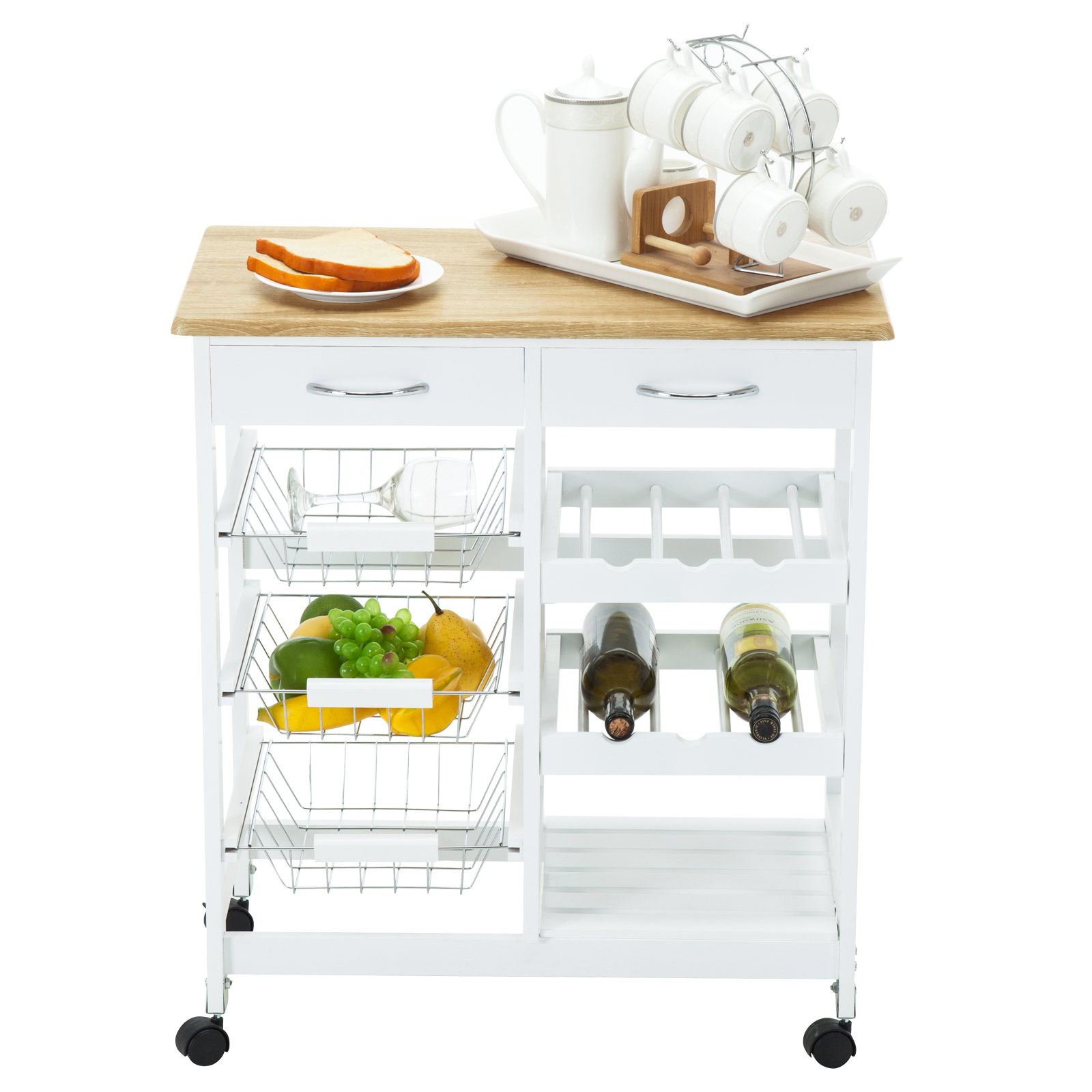 Kitchen Island Cart Trolley Portable Rolling Storage Table W Drawers Baskets Ebay
