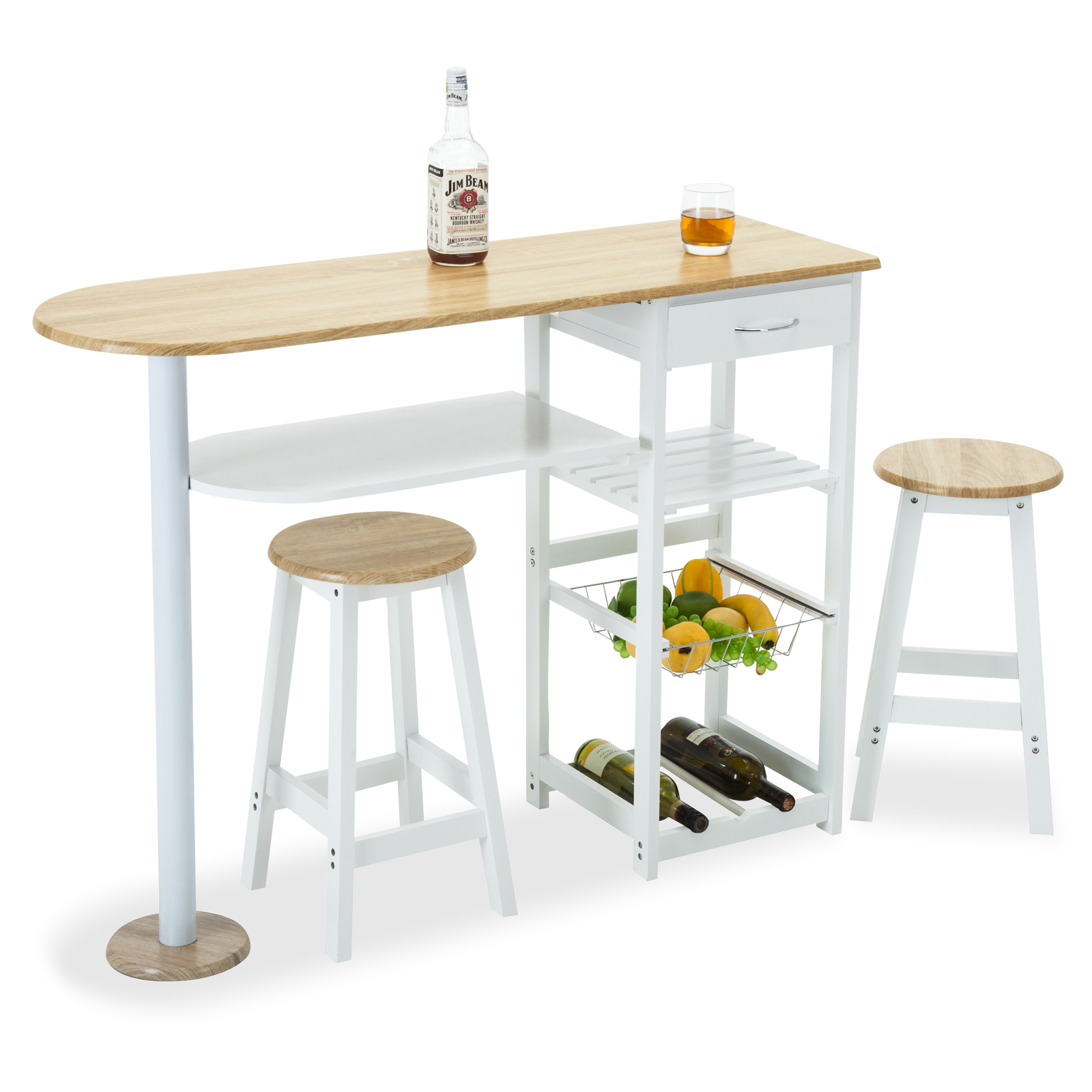 Modern Kitchen Bar Stools Kitchen Islands With Table: Oak White Kitchen Island Trolley Cart Dining Table Storage