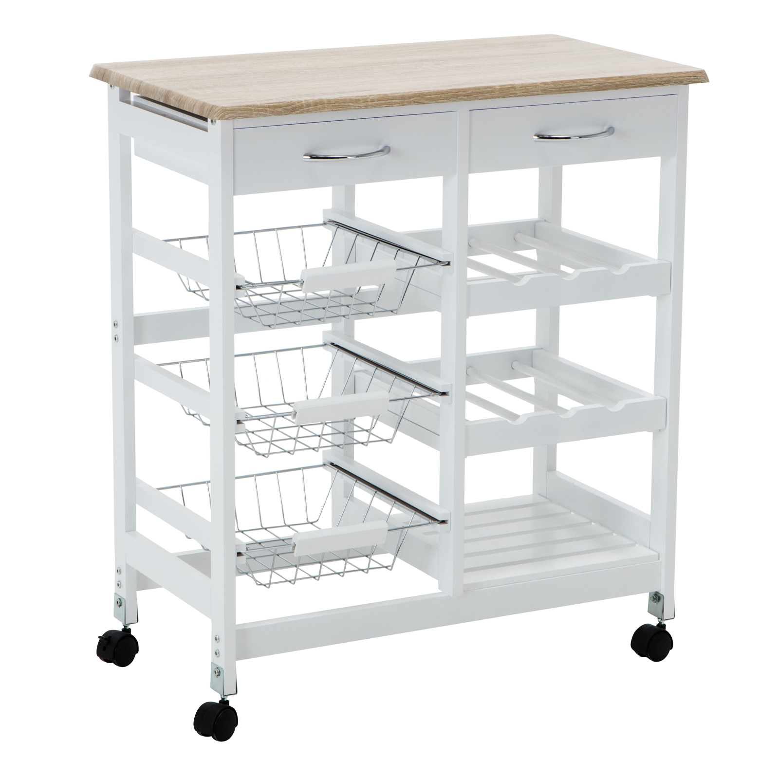 Oak kitchen island cart trolley portable rolling storage for Kitchen island dining table