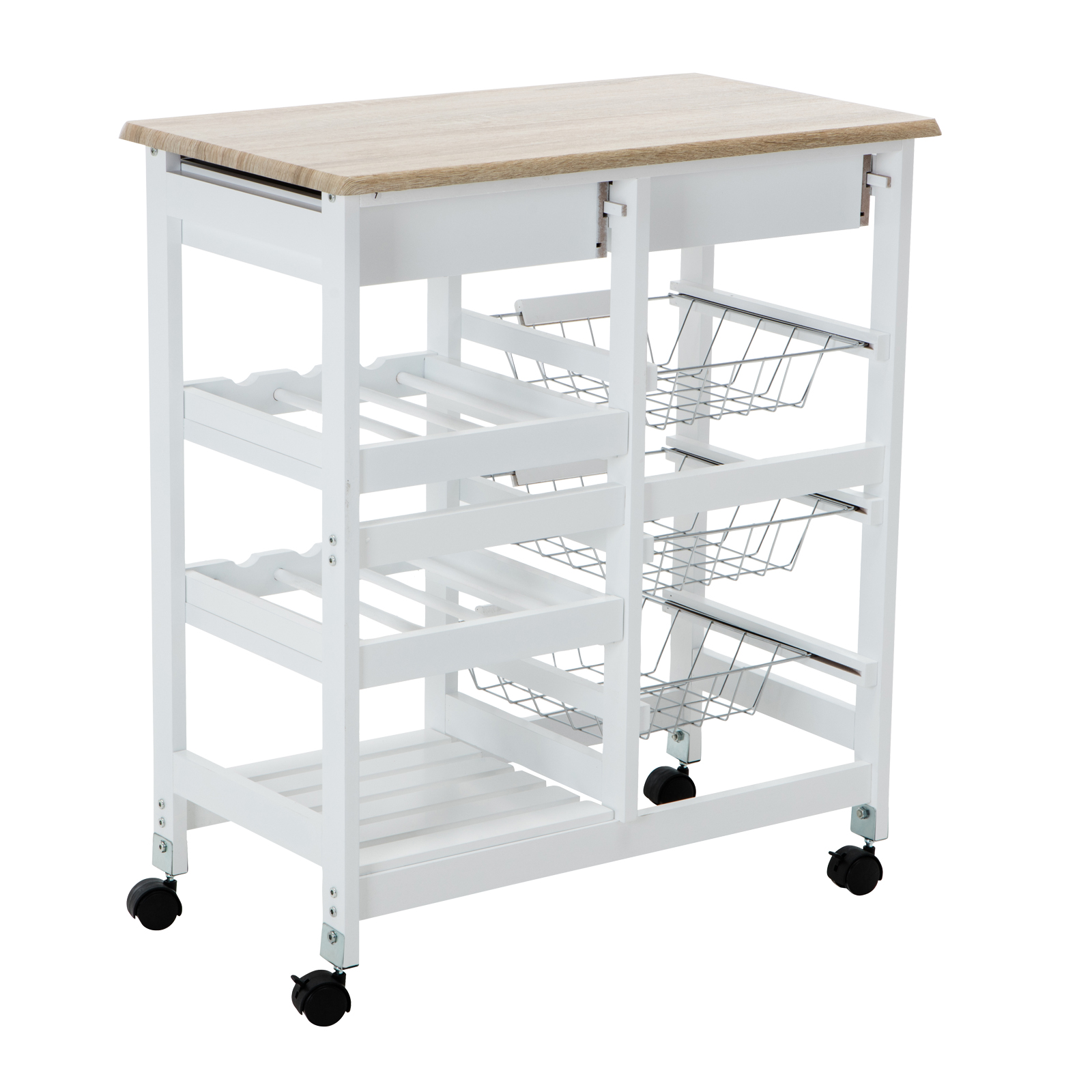 Portable Oak Kitchen Island Cart Trolley Rolling Storage Dining Table 2 Drawers Ebay