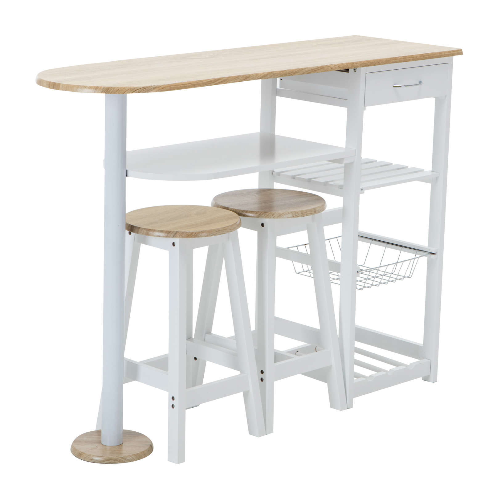 Oak white kitchen island cart trolley dining table storage for Breakfast table with stools