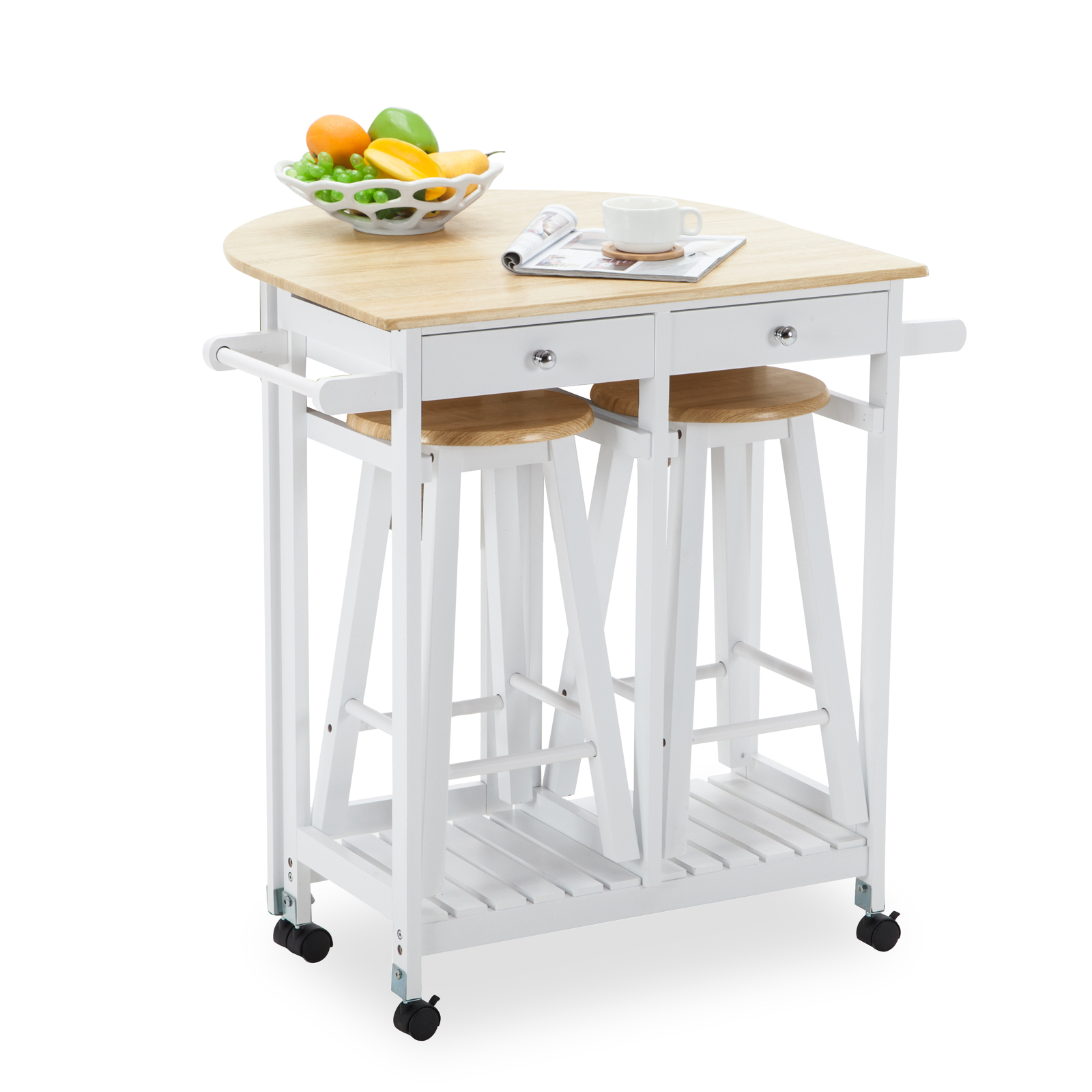 Kitchen island rolling trolley cart storage dinning table for Bar stools for kitchen islands