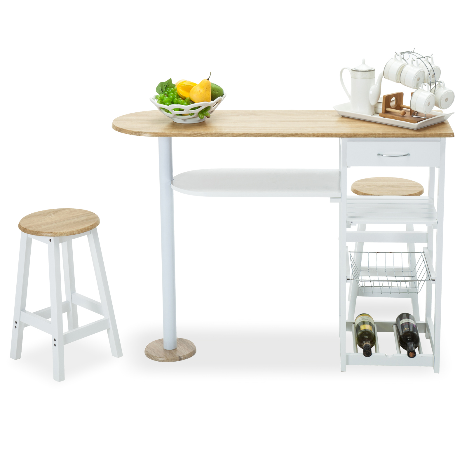 Oak white kitchen island cart trolley dining table storage for Kitchen table with storage