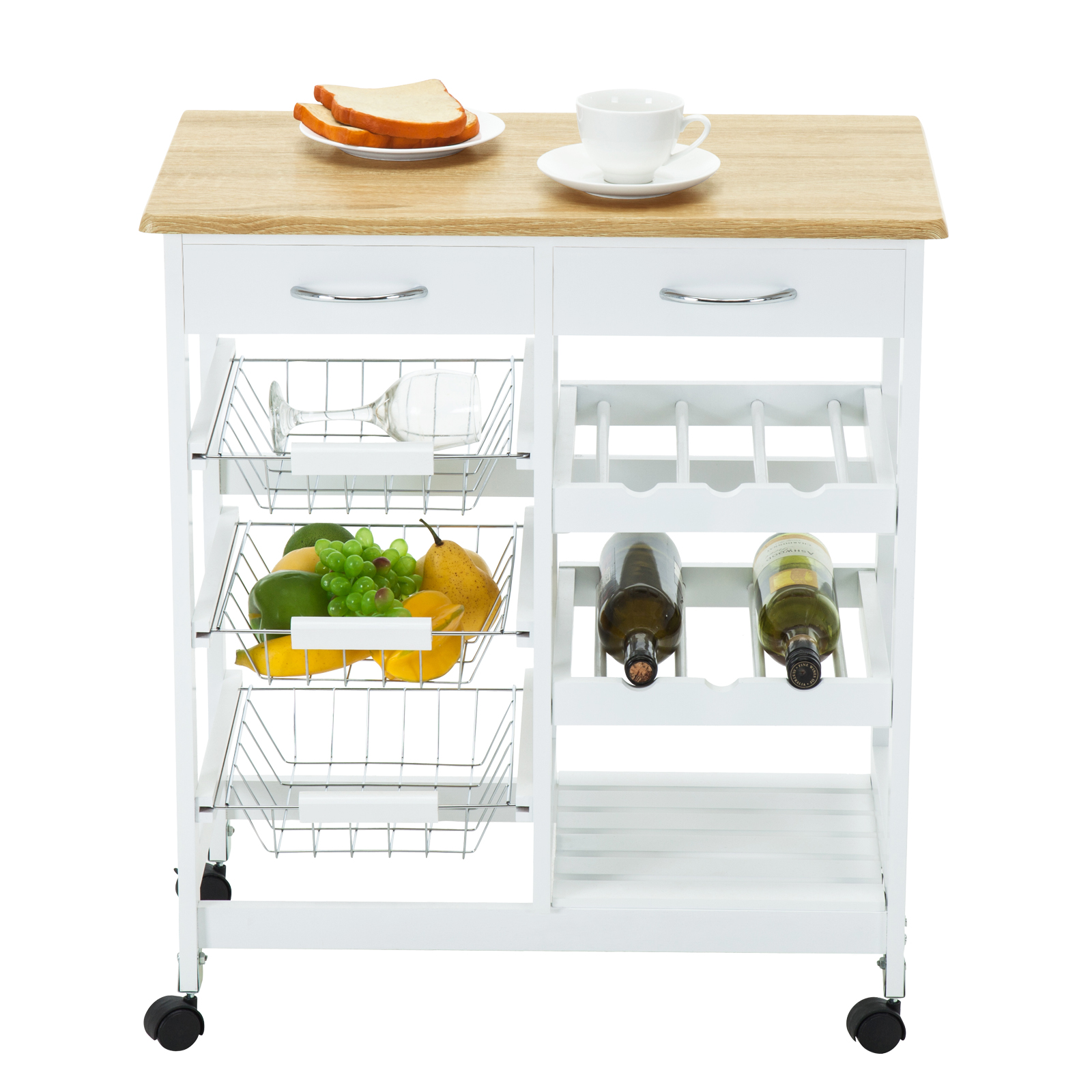 Oak kitchen island cart trolley portable rolling storage for Kitchen table with storage