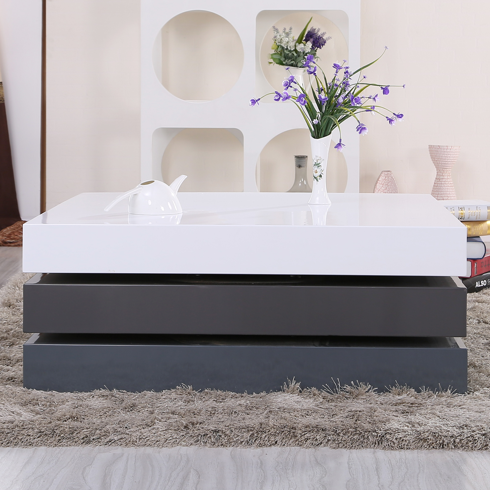 Elisa Coffee Table Square In High Gloss White With Storage: High Gloss Square Storage Rotating Coffee Table W/3 Layers