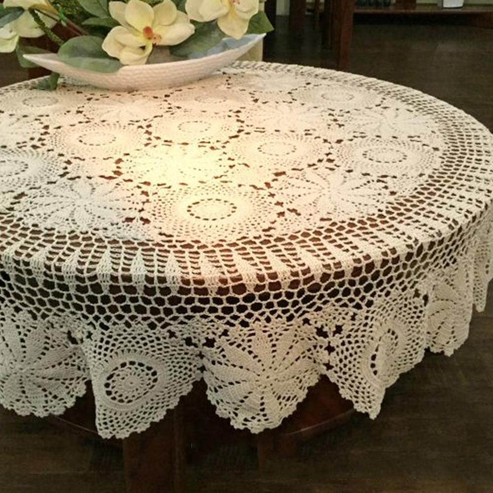 Beige Hollow Tablecloth Crochet Table Cover Round Table