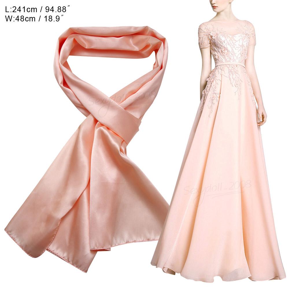 Wedding Women Satin Long Scarves Bridesmaid Prom Shawl Stole Wrap ...