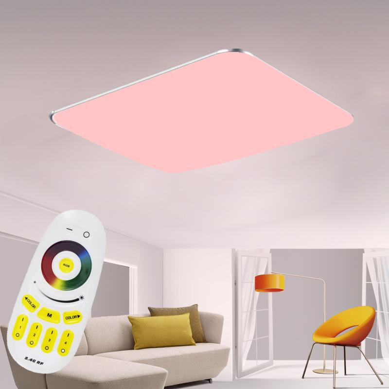 96w rgb deckenleuchte led ultraslim dimmbar deckenlampe wohnzimmer fernbedienung ebay. Black Bedroom Furniture Sets. Home Design Ideas