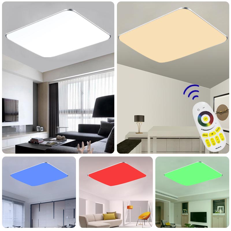 96w rgb deckenleuchte led ultraslim dimmbar deckenlampe wohnzimmer fernbedienung ebay. Black Bedroom Furniture Sets. Home Design Ideas