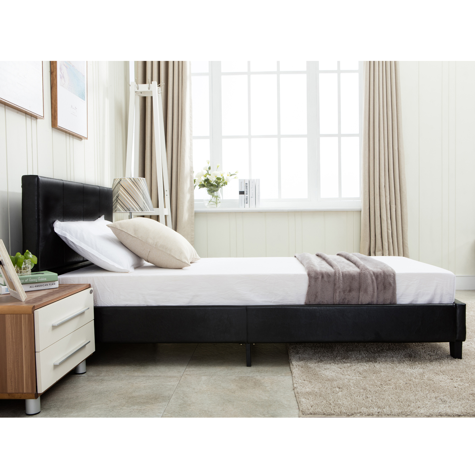 Full Size Faux Leather Platform Bed Frame Amp Slats