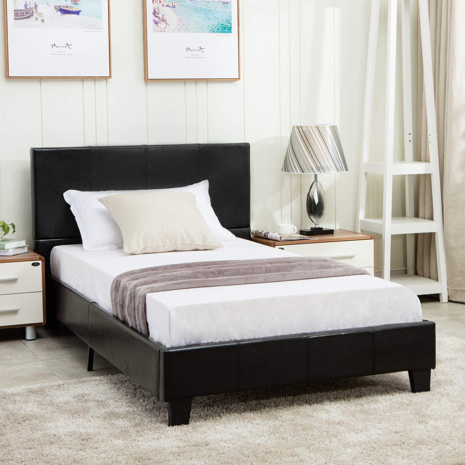 twin size faux leather platform bed frame slats upholstered headboard bedroom ebay. Black Bedroom Furniture Sets. Home Design Ideas