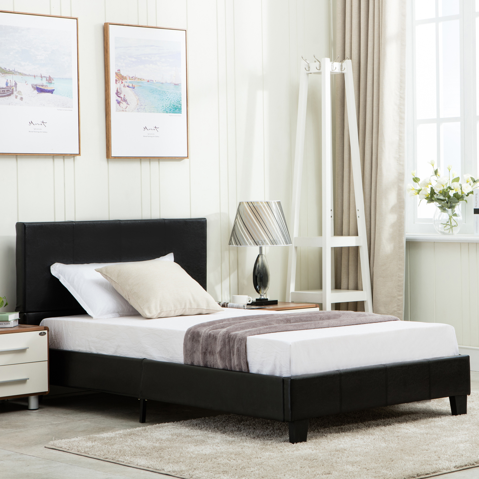 twin size platform bed frame faux leather & slats upholstered
