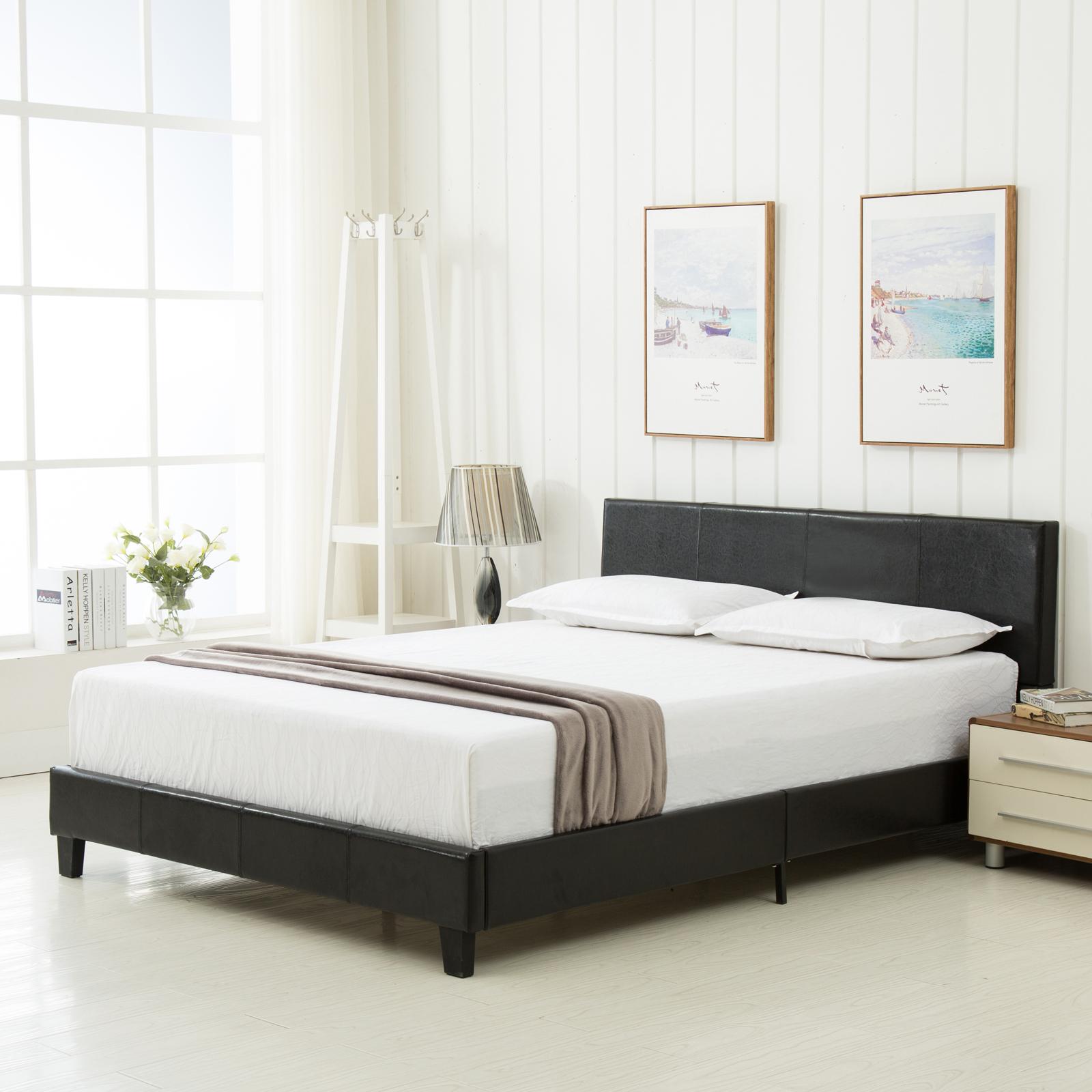 Queen Size Platform Bed Frame Faux Leather Amp Slats