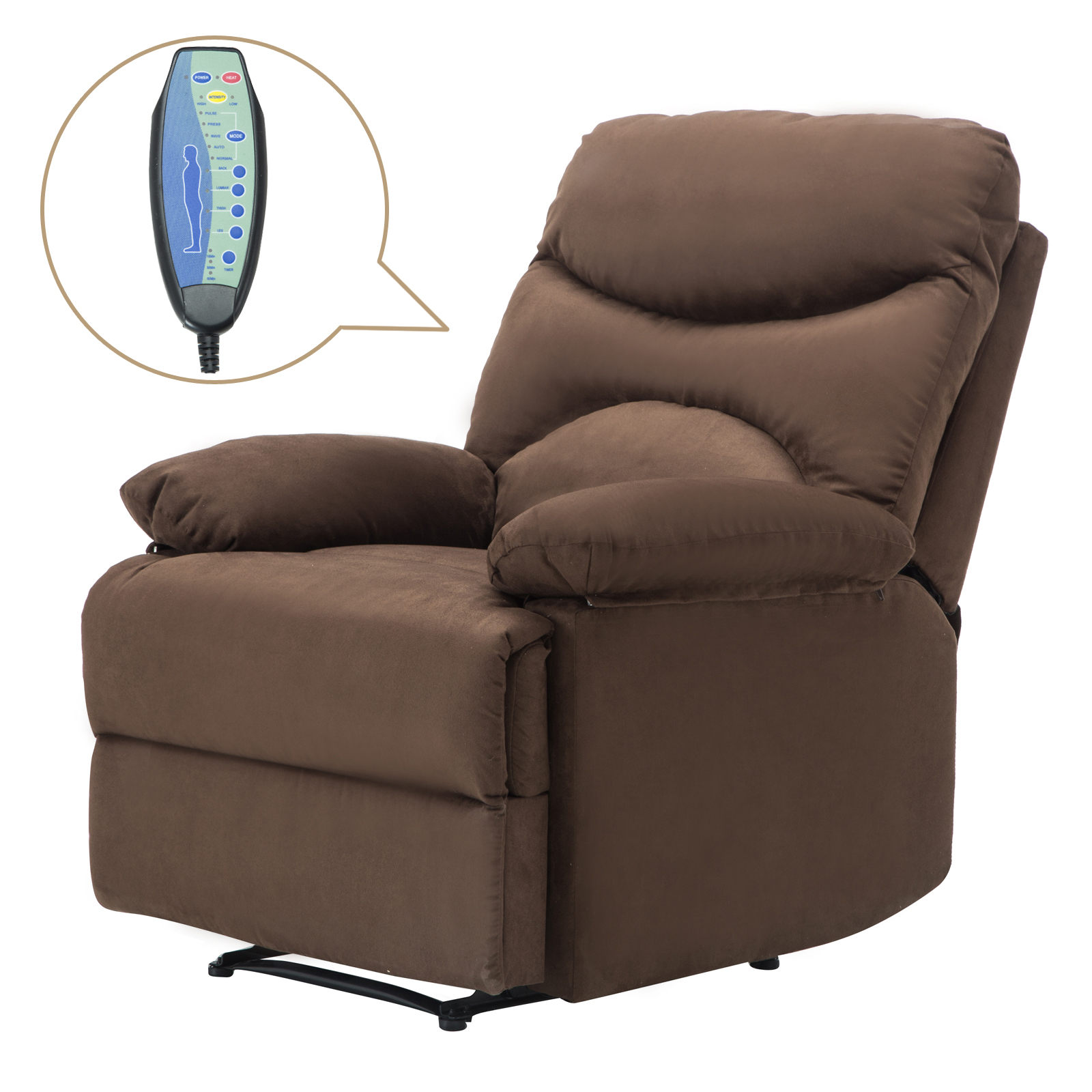 Ergonomic Lounge Heated Microfiber Massage Recliner Sofa Chair w Control