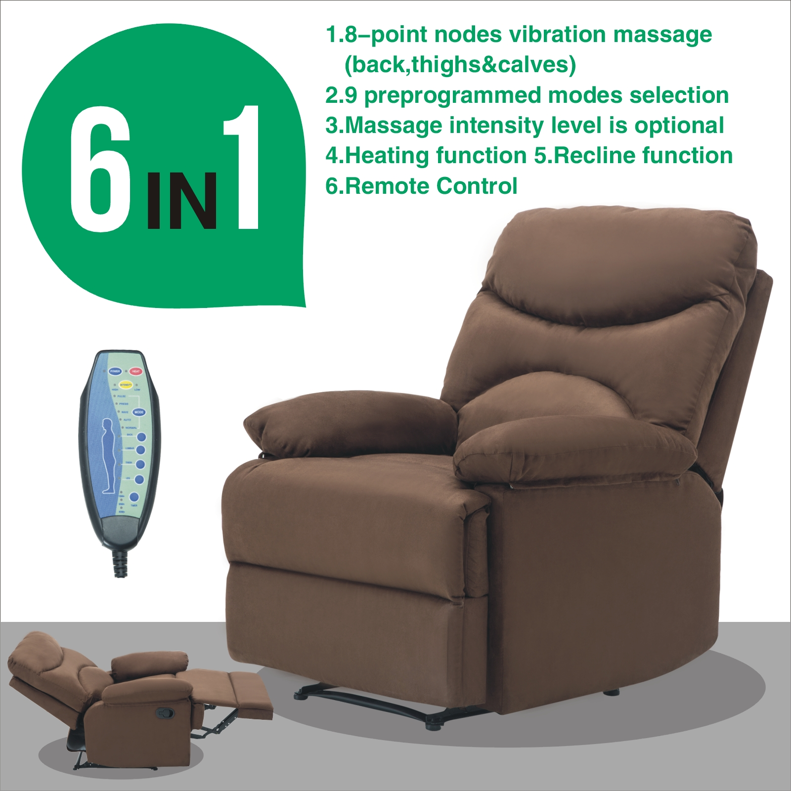 Microfiber Massage Recliner Sofa Chair Ergonomic Lounge Swivel Heated  W/Control