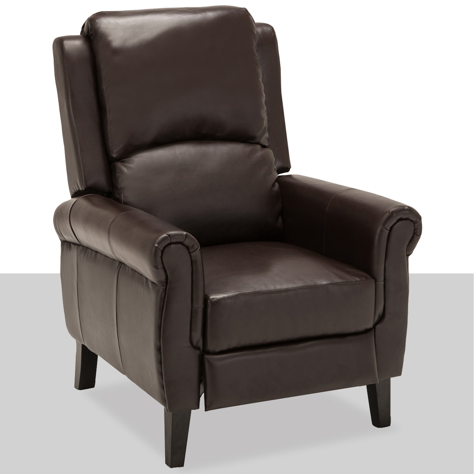 Brown Leather Recliner Armchair Accent Chair w/ Leg Rest ...