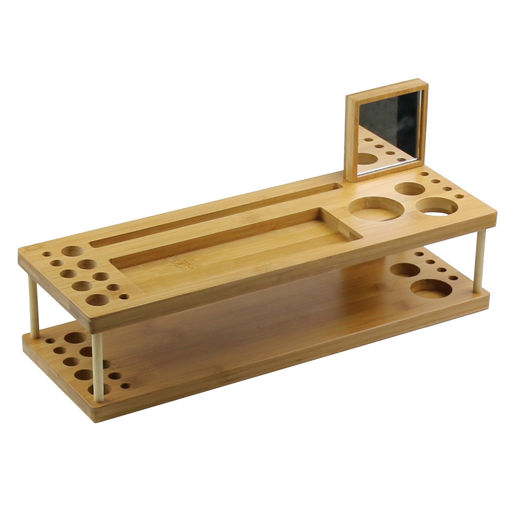 handgemachte bambus holz make up pinsel organizer telefon. Black Bedroom Furniture Sets. Home Design Ideas