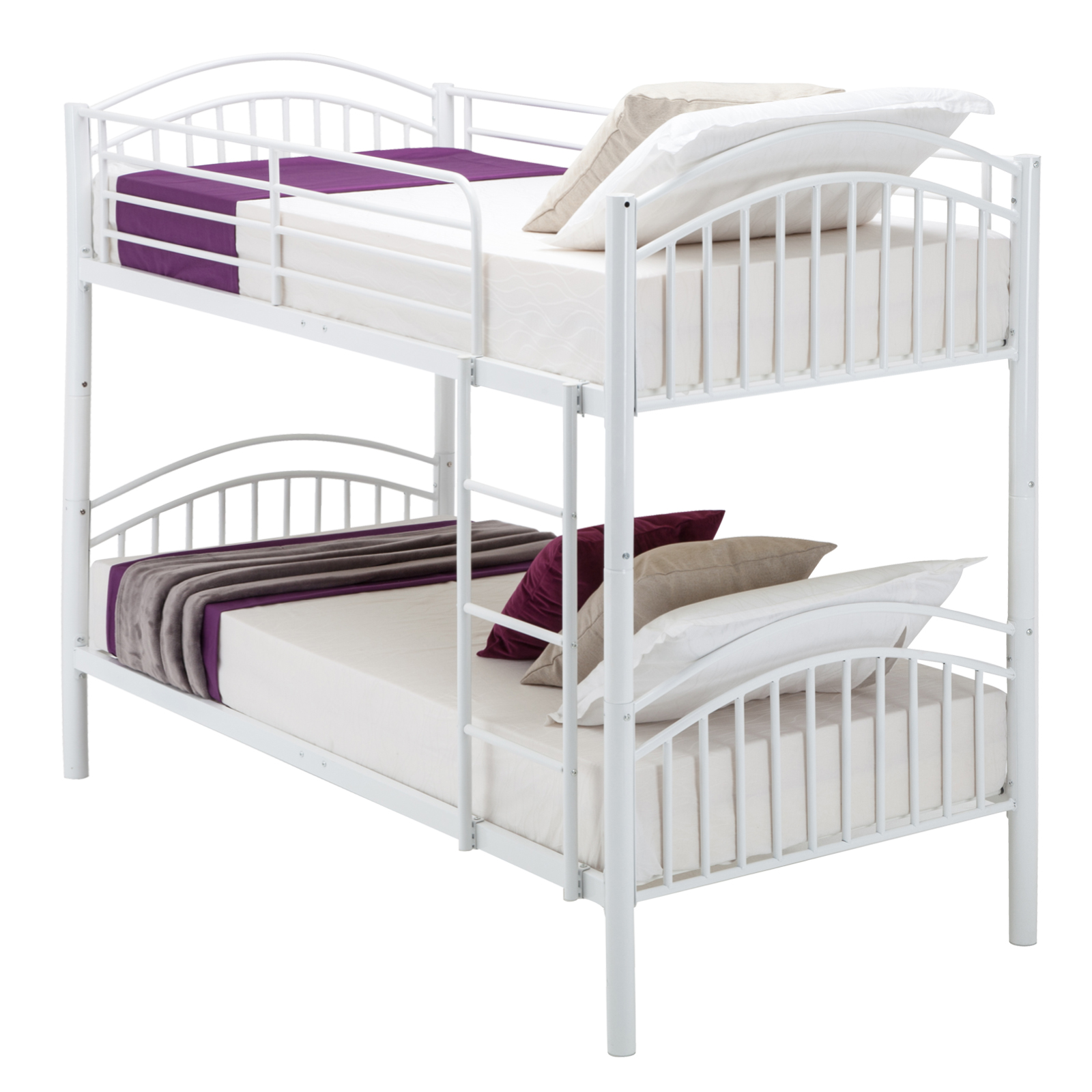 Modern 3ft single white metal bunk bed frame 2 person for for Single bunk bed