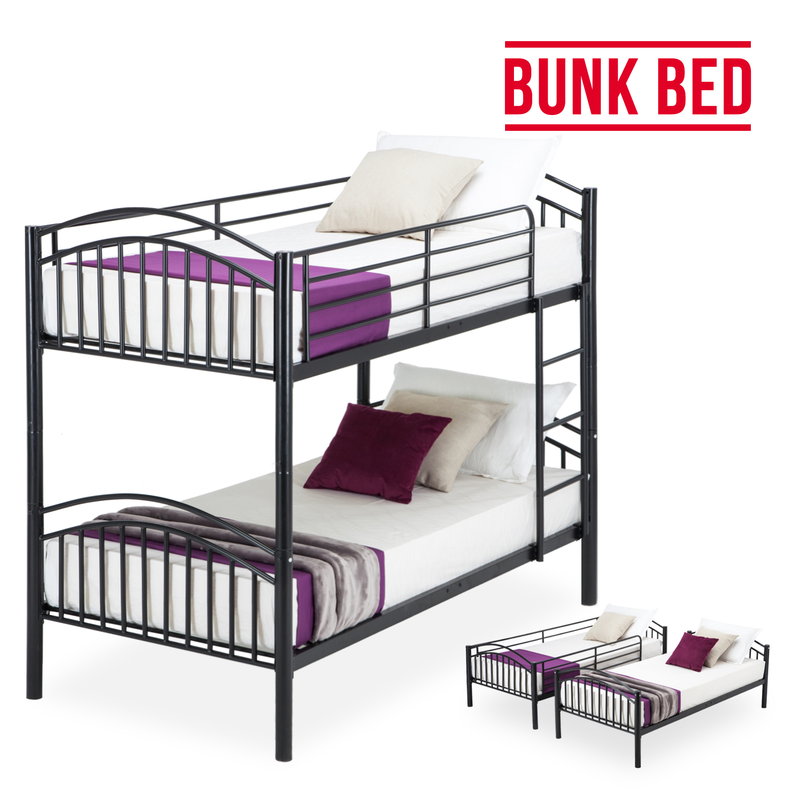 modern 3ft black single metal bunk bed frame 2 person for adult children ebay. Black Bedroom Furniture Sets. Home Design Ideas