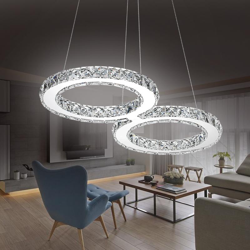 32w kaltwei led h ngeleuchte deckenlampe kronleuchter l ster kristall modern ebay. Black Bedroom Furniture Sets. Home Design Ideas