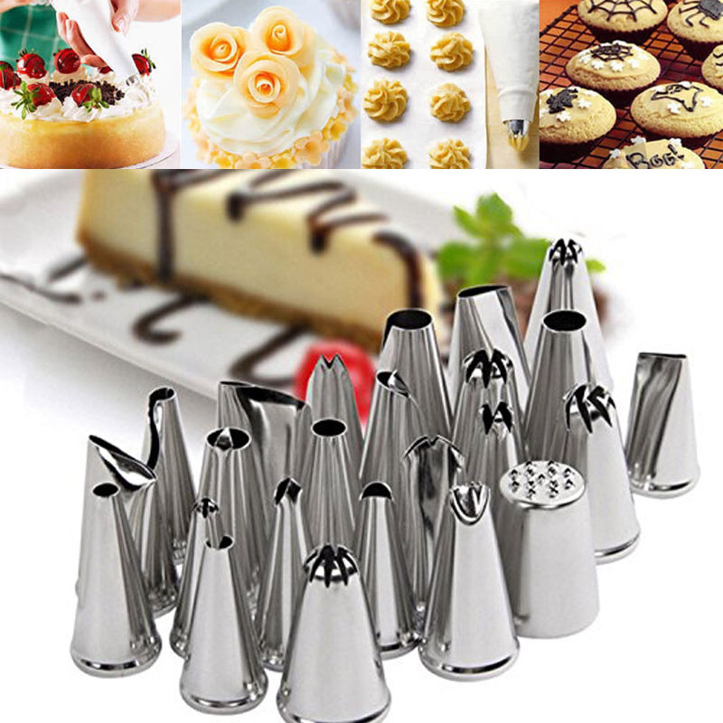 24Pcs Cake Decorating Nozzles Tips Set Pastry Cupcake ...