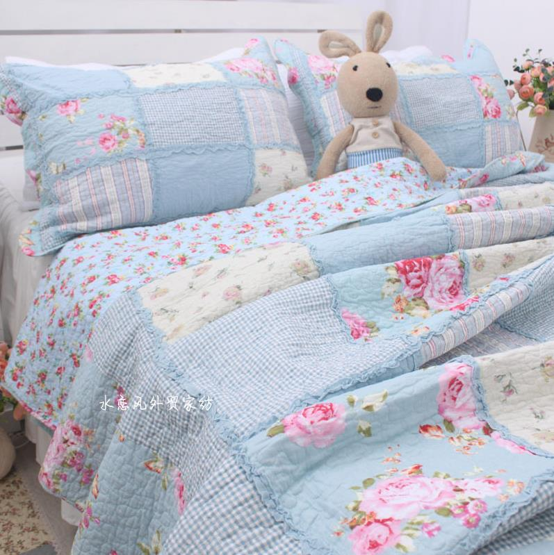Amazing Details About Shabby Chic Cottage Floral Blue Patchwork Cotton Quilt Coverlet Bedspread Set Home Interior And Landscaping Staixmapetitesourisinfo