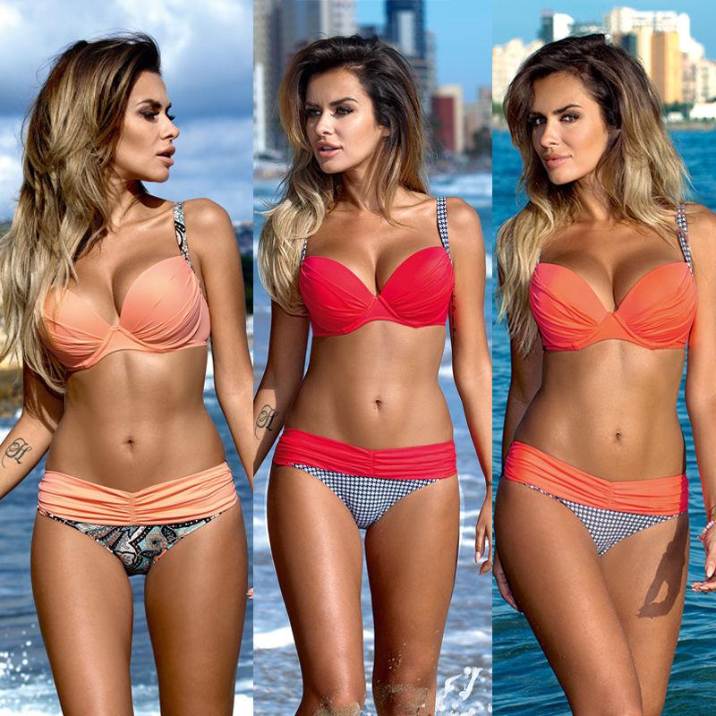 64780a5555f49 Details about UK Push-up Padded Bra Swimsuit Swimwear Women Bandage Bikini  Bathing Set 2pcs