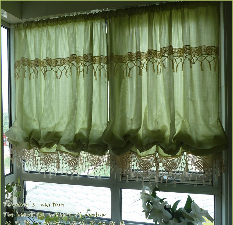 Country Cottage Kitchen Curtains: French Country Cottage Green Adjustable Pull Up Balloon
