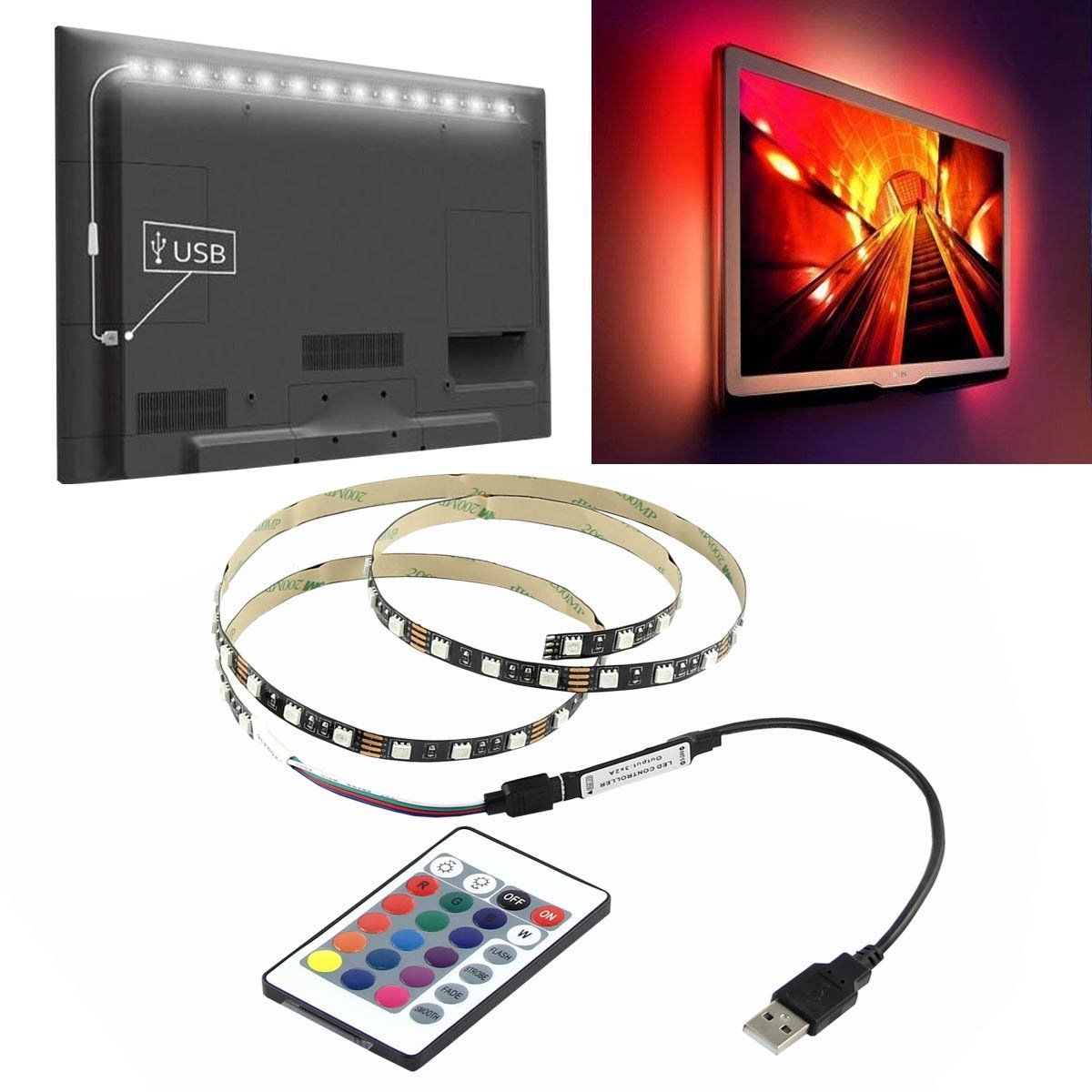 5v 5050 60smd m usb rgb led tv hintergrund beleuchtung led leiste stripe band ebay. Black Bedroom Furniture Sets. Home Design Ideas