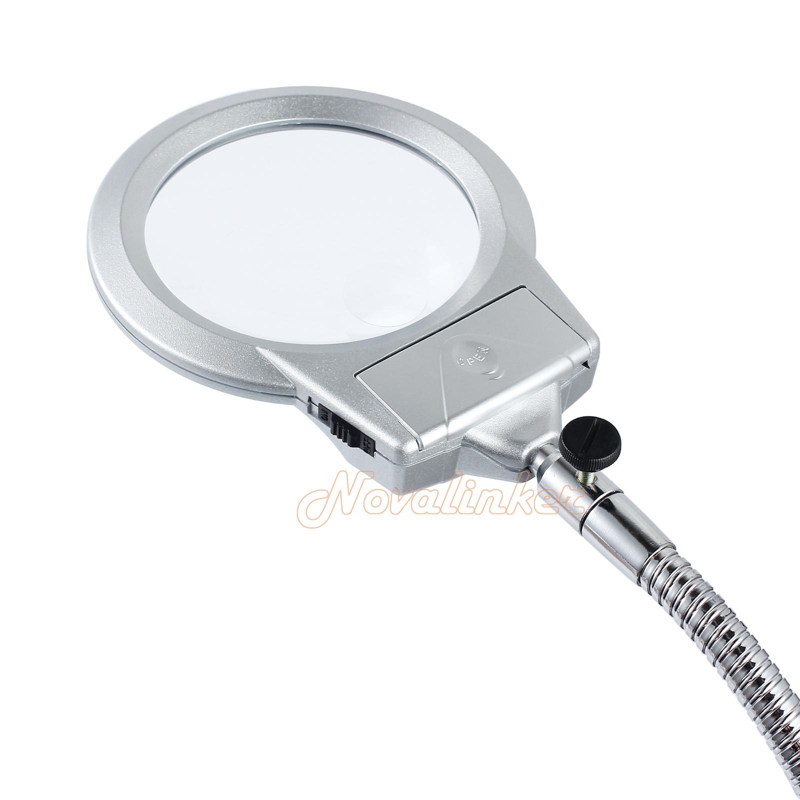 Desk Magnifying Glass : Large lens lighted lamp top desk magnifier magnifying