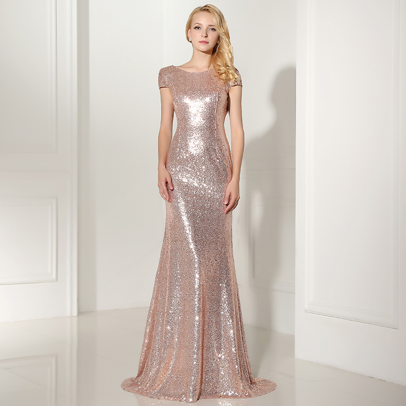 Sequin Wedding Dress: Sequins Long Formal Evening Dress Wedding Party Bridesmaid