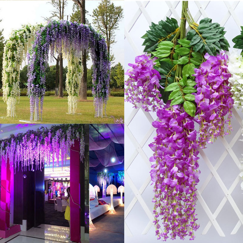 12x Artifical Silk Wisteria Flower Plant Vine Wedding