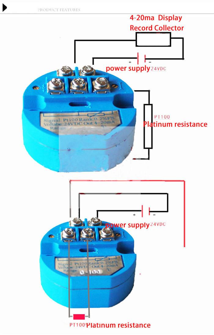50~150℃ 0-500℃ RTD PT100 SBW Temperature Sensor Transmitter Isolated ...
