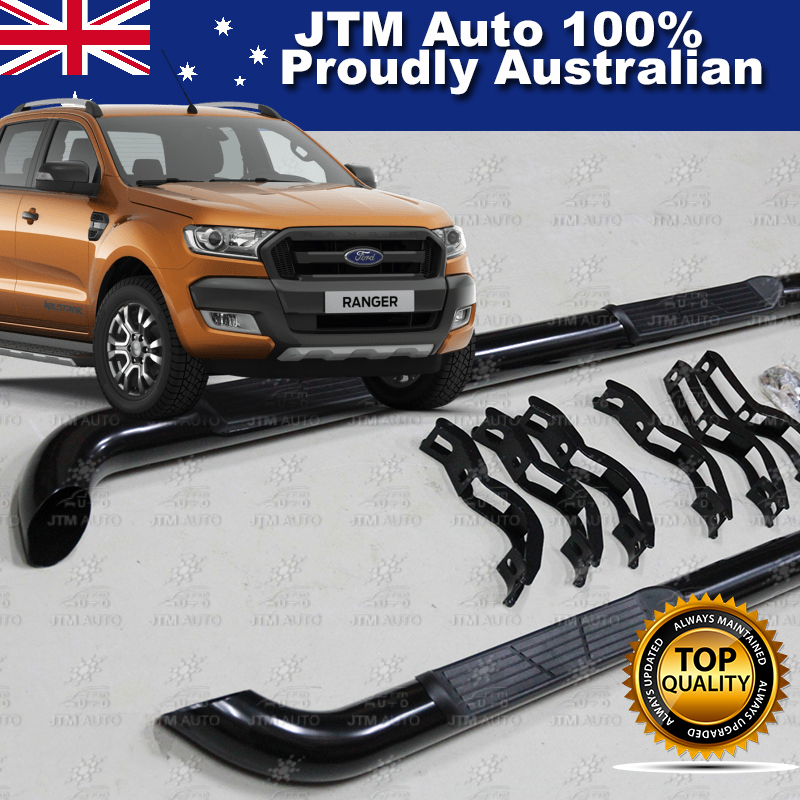 For Ford Ranger T7 PX2 Dual Cab Running Boards Black Steel Side Steps 2015-2018