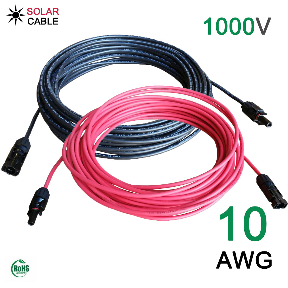 One Piece Black Or Red 10 Awg 2 5mm Solar Extension