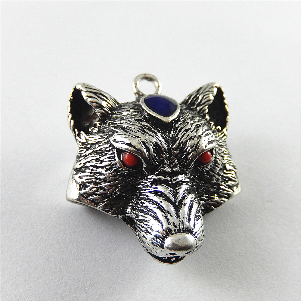 20pcs antiqued silver head of wolf design pendant charms G1207