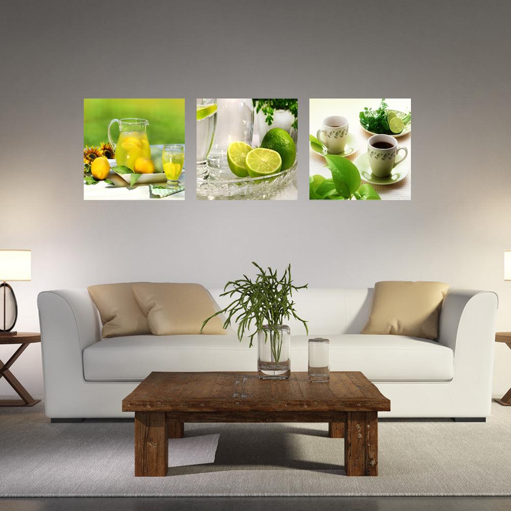 3 Stück Früchte Zitrone Leinwand Malerei Bilder Küche Wohnzimmer ...