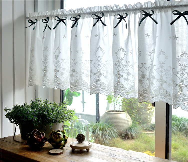Country Cottage Kitchen Curtains: French Country Cottage Rustic White Embroidery Kitchen