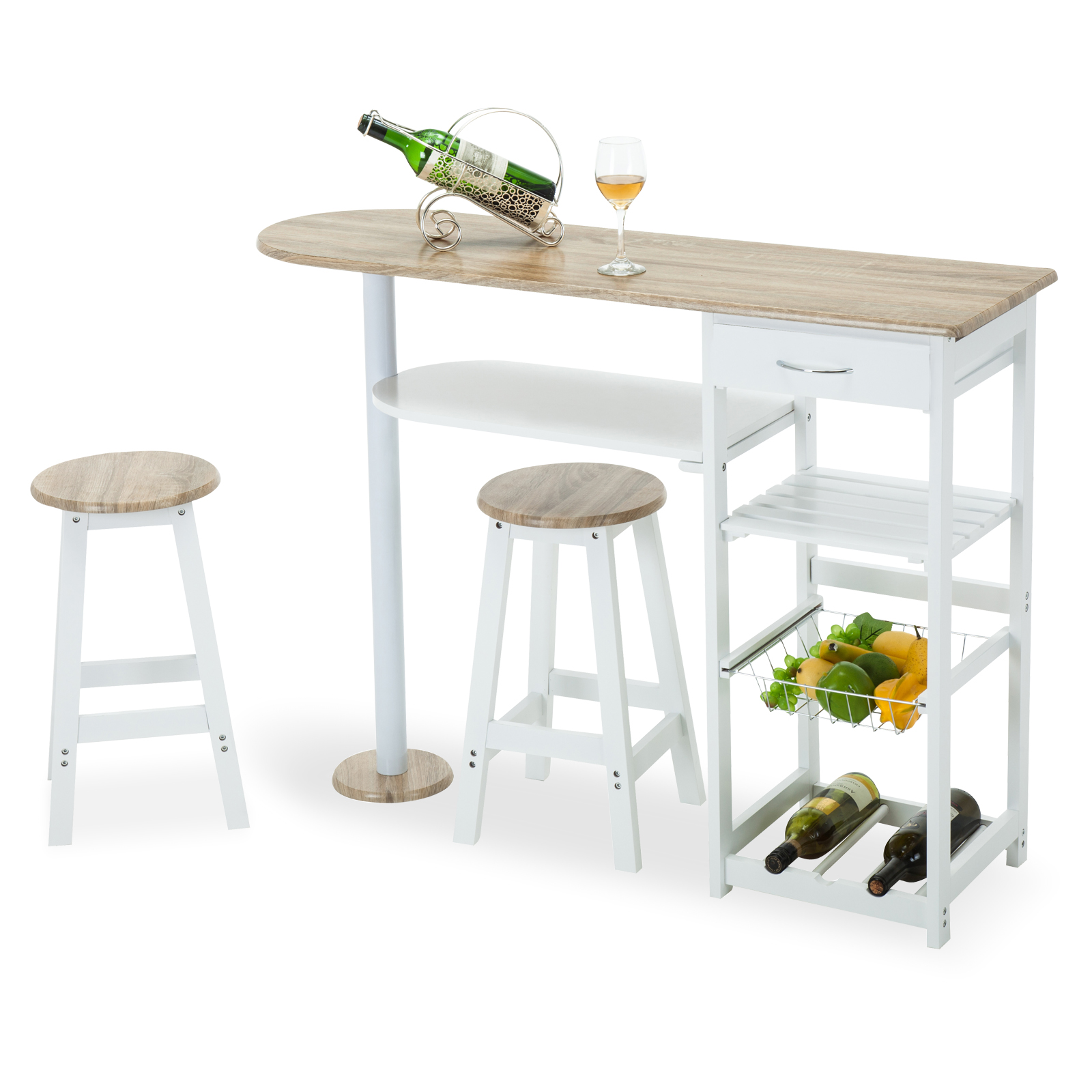 Oak White Kitchen Island Cart Trolley Dining Table Storage 2 Bar Stools