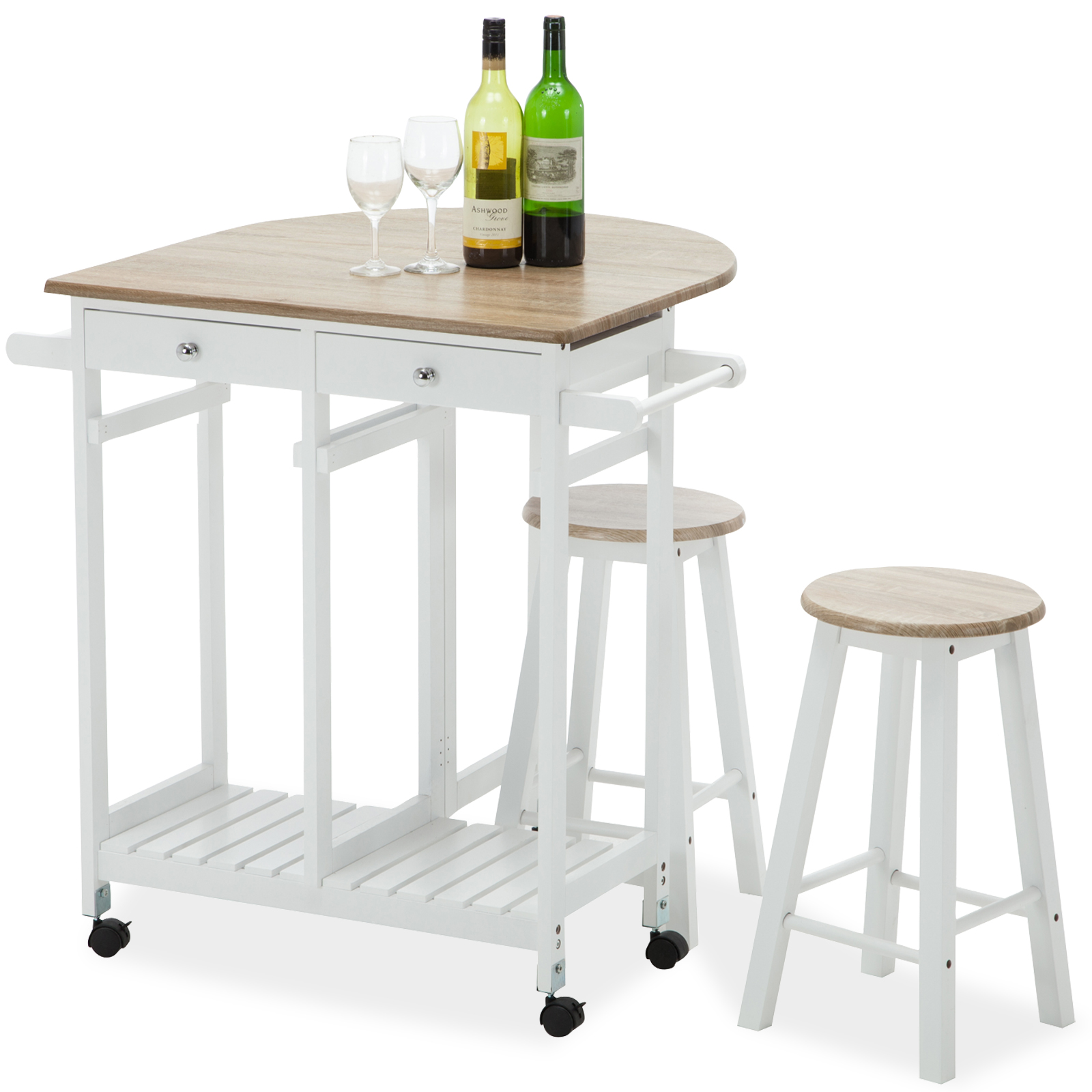 Modern Kitchen Bar Stools Kitchen Islands With Table: Oak Kitchen Island Cart Trolley Storage Dining Table 2 Bar