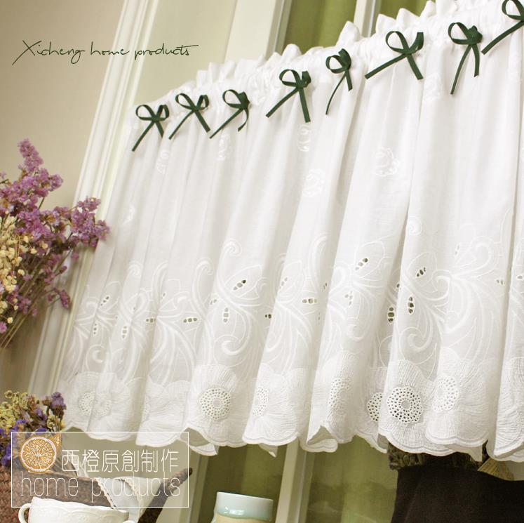 Country Cottage Kitchen Curtains: French Country Cottage White Embroidery Kitchen Cafe