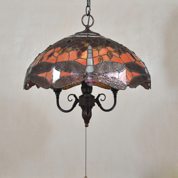 18 Quot Tiffany Pendant Light Dragonfly Stained Glass