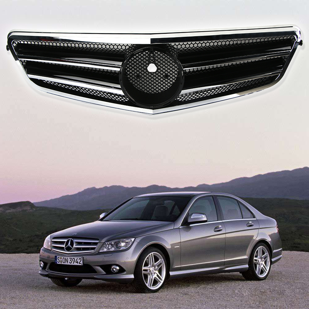 Front mesh grille grill black for mercedes benz c class for Mercedes benz grill