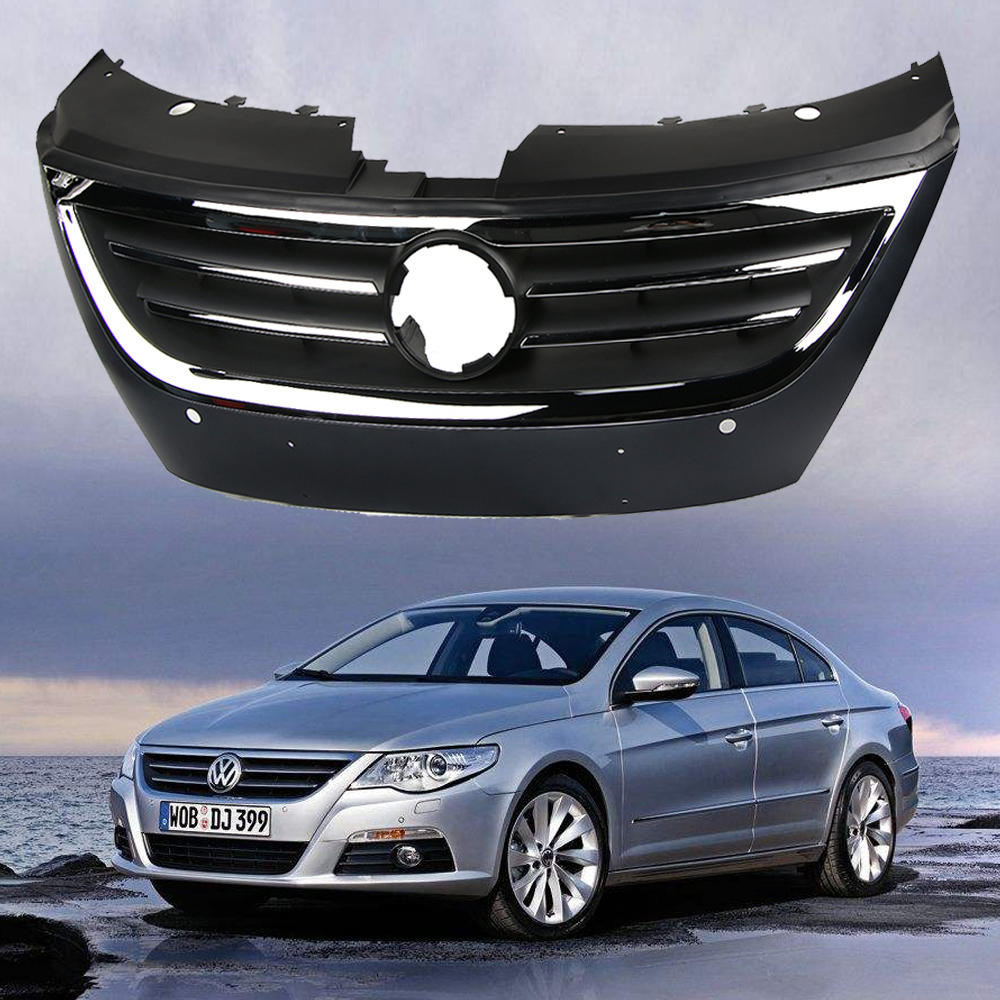 volkswagen passat cc 2008 2012 front bumper grille primed with park sensor holes ebay. Black Bedroom Furniture Sets. Home Design Ideas