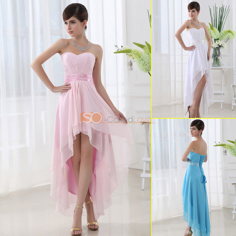 Ladies high low hi lo short chiffon cocktail party dress for Hi lo dress wedding guest