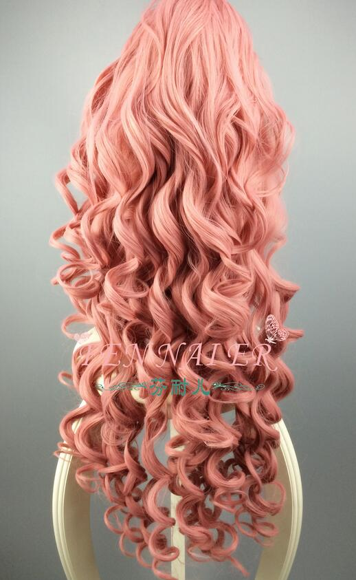 Fashion anime long curly smoke pink cosplay wig luka single horsetail big wave