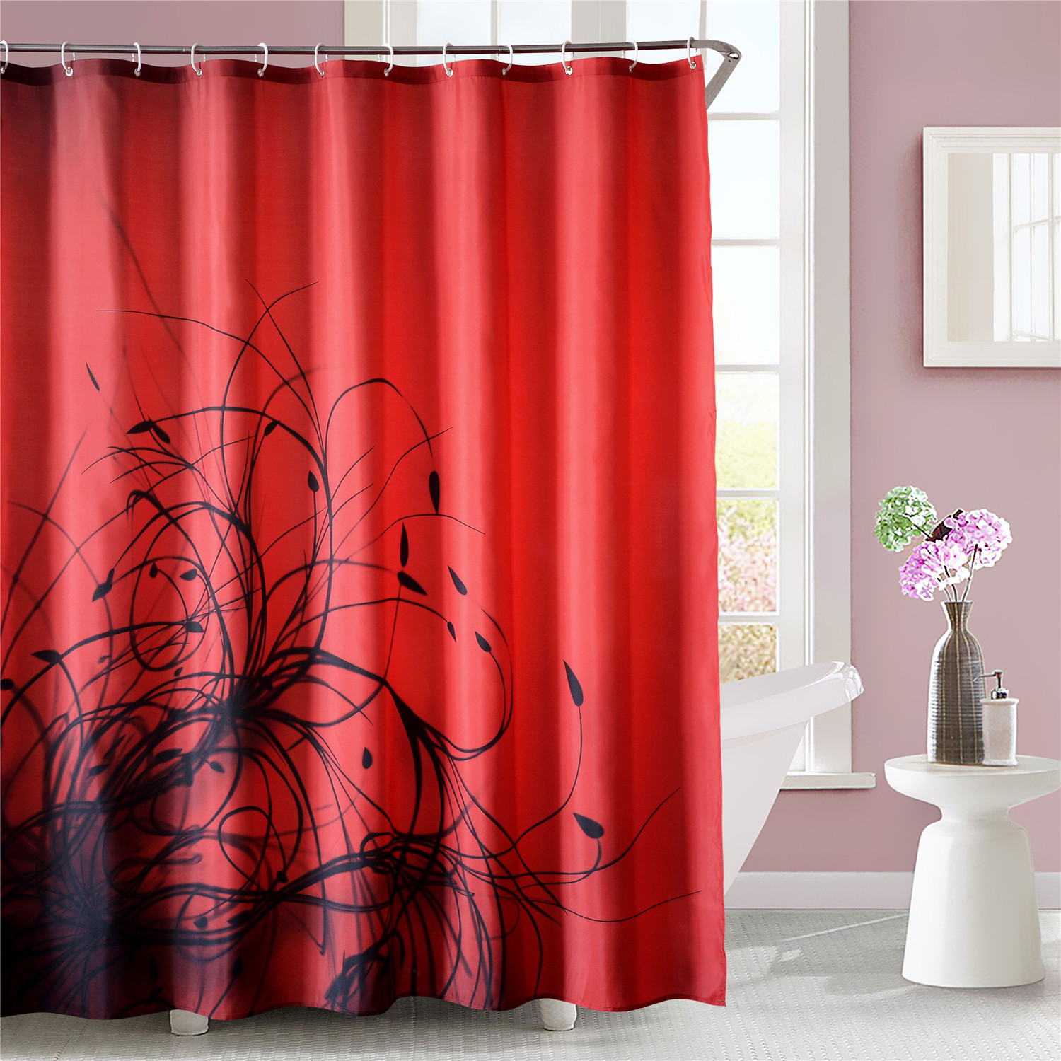 Luxury Fabric Shower Curtain Abstract Plant Floral Red Black 72x72