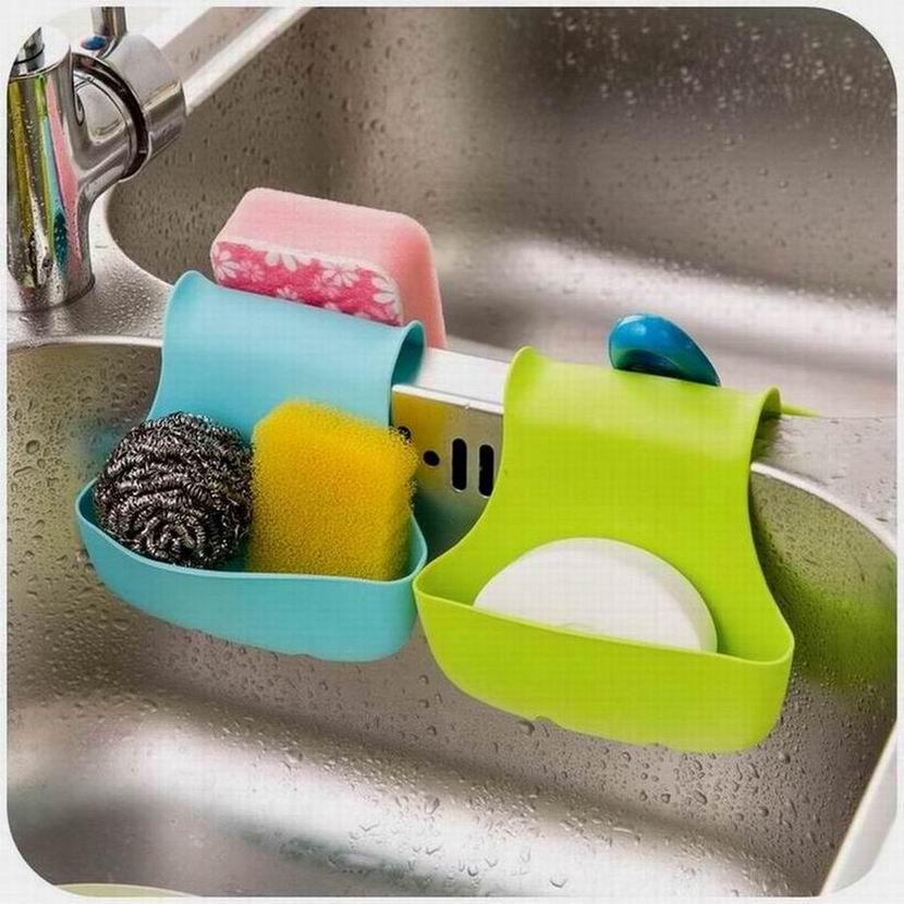 Kitchen Sink Sponge Holder: Popular Double Sink Caddy Kitchen Tool Organizer Storage