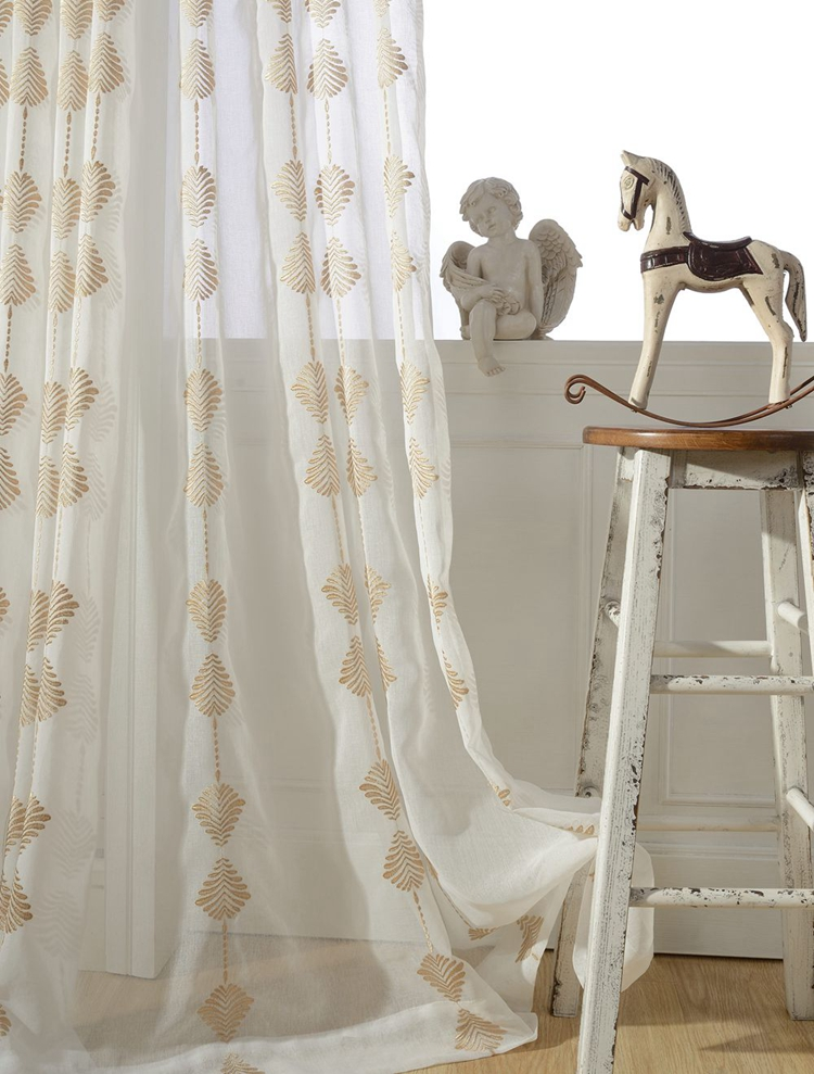 One Panel Gold Thread Embroidered Sheer Curtain Voile