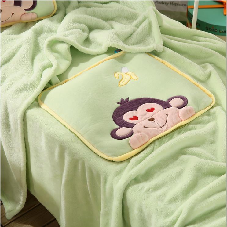 Plush Throw Rug: Kids Soft Plush Fleece Folding Travel Green Throw Rug